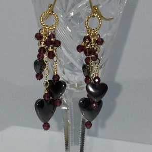 14k GF Hematite Heart Garnet Leve rback Earrings